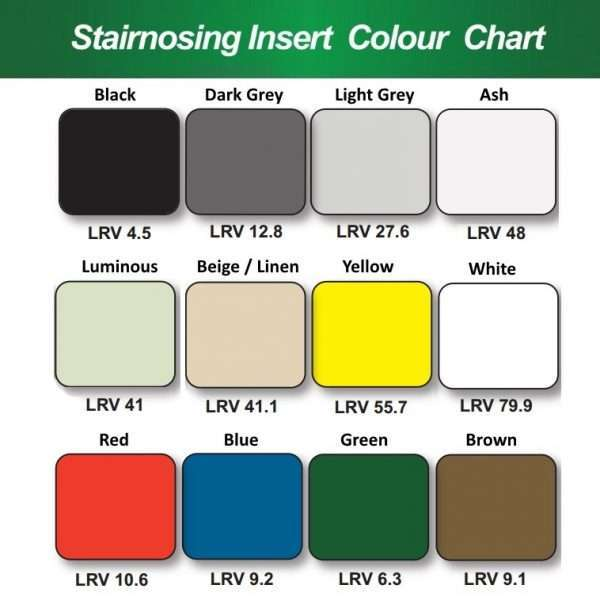 Euronose Stairnosing Insert Colour Chart with LRV